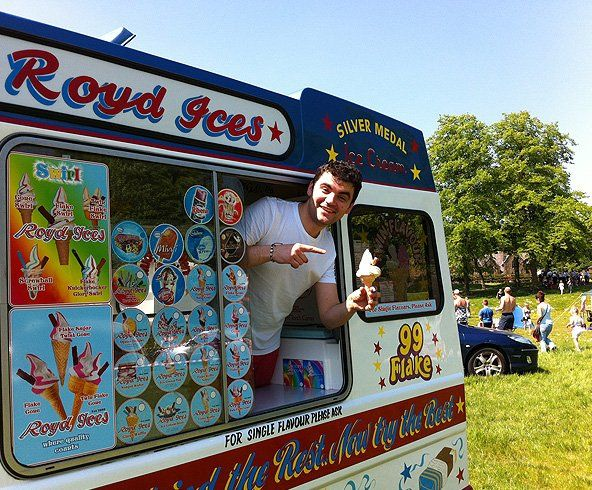 Happy ice cream van worker
