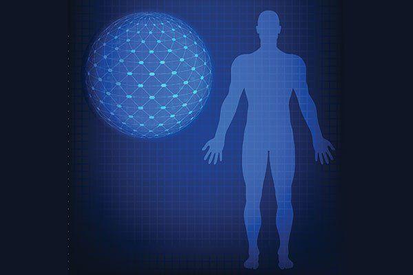 colore blu Ector illustrazione di scansione umana con la sfera