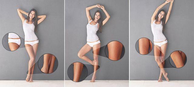 Un'immagine con una donna in tre pose diversi e alcune immagini di lei con vista ravvicinata delle gambe, cosce e vita