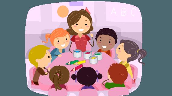 Cartoon children and supervisor