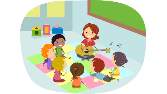 Cartoon kids listen to teacher playing guitar