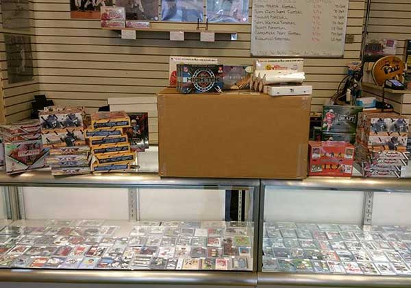 Collectibles and sports cards in a counter