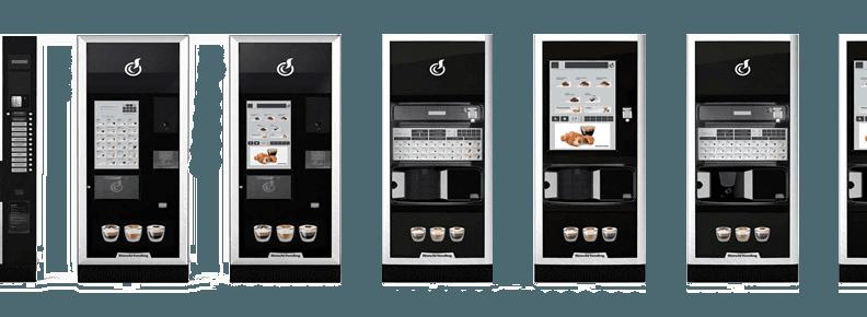cinque piccole immagini di distributori di caffè Bianchi