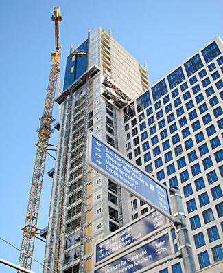A tall blue building