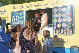 customers buying farmhouse ice cream