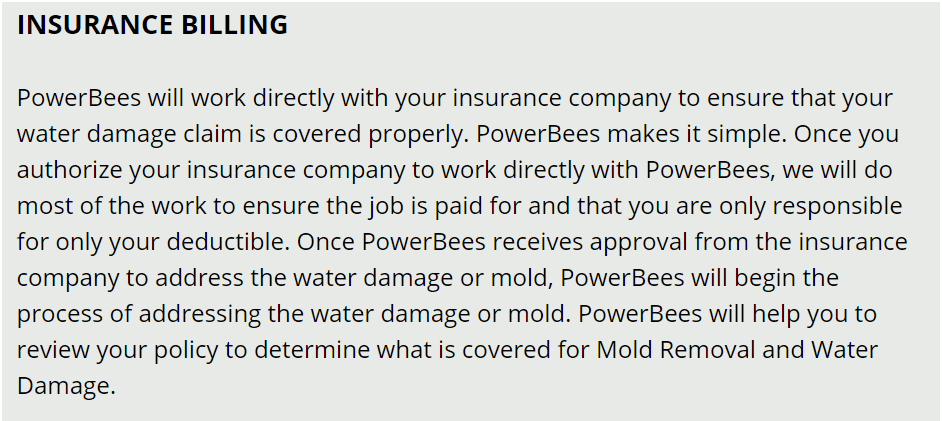 DOVER MA Water Damage insurance billing