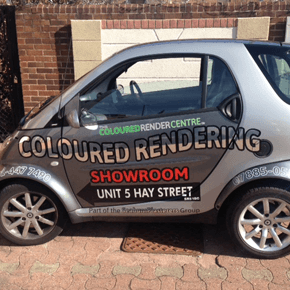 Coloured rendering showroom company van