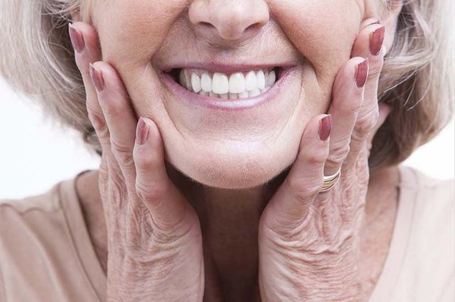Old women after beauty treatment