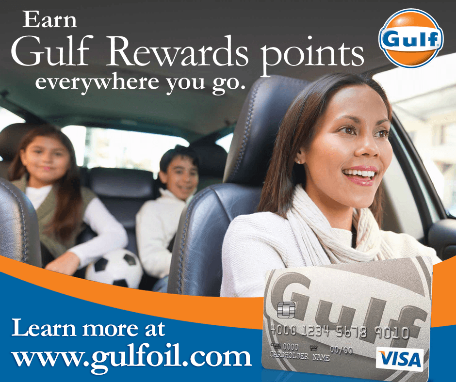 With the Gulf Visa Card you'll receive a $20 Gulf Gift Card for every 2,000 points earned! Earn 3 points for every $1 spent at Gulf stations and 1 point for ...