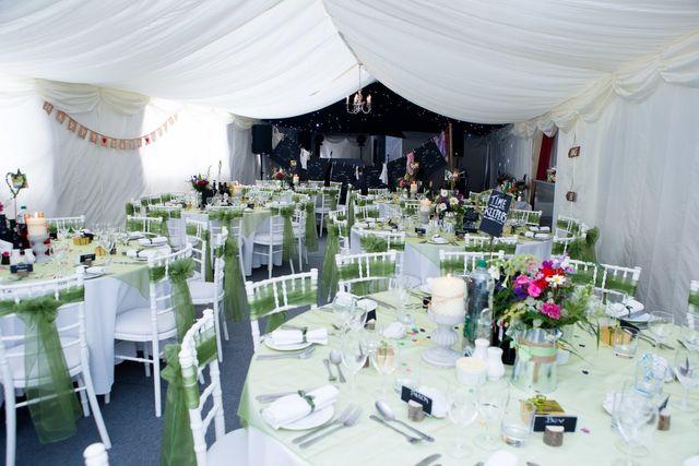 village hall wedding venue into marquee
