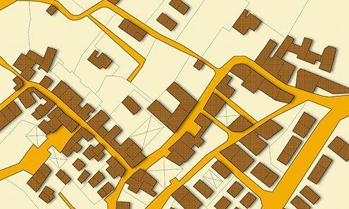 mappa catastale del territorio con edifici e strade