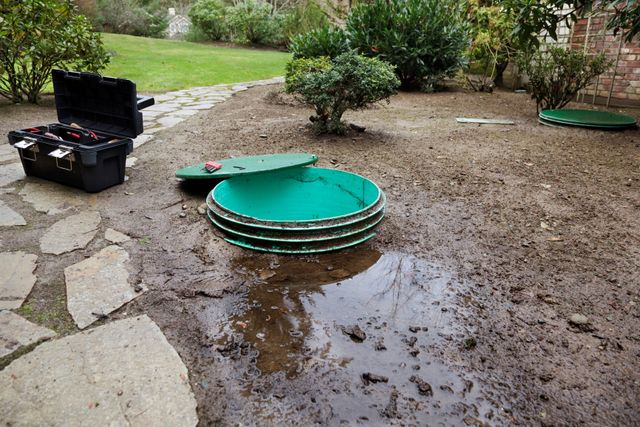 septic tank leaking in residence back yard that needs repair
