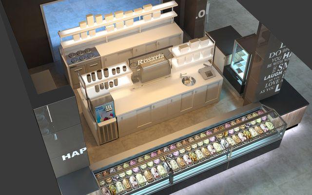 Banco frigo per gelateria con gelato in esposizione