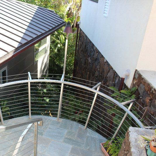 Aluminum cable railing for a residence in Kaimuki, done by Arc Designs Hawaii