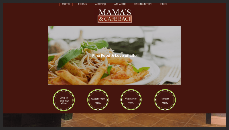 www.MamasCafeBaci.com Multi-Screen site