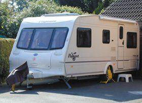 A white caravan in Newport, Wales.