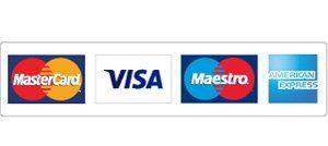 Mastercard Visa Maestro & American Express logos