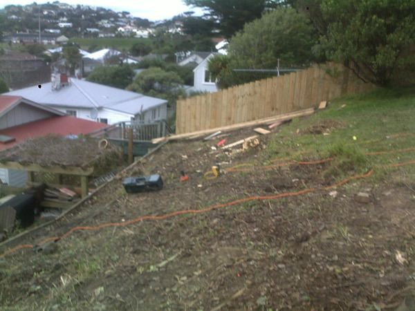 Landscaping before completion