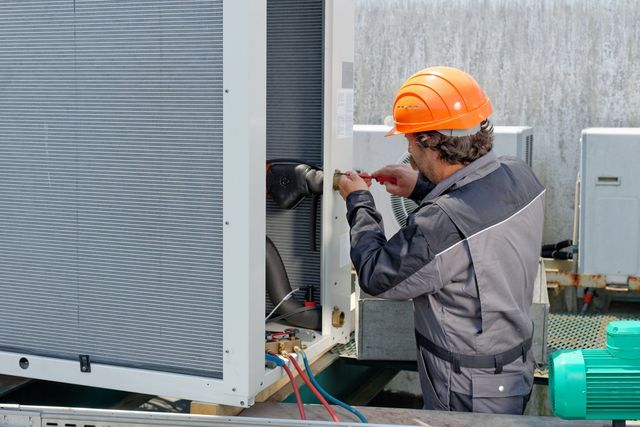 a commercial air conditioner being installed