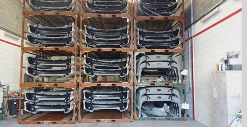 Lots of car parts in storage at Panache Coatings