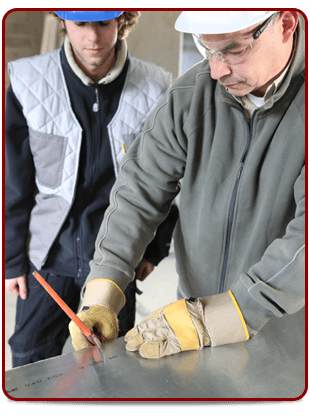 Man giving construction training to a student