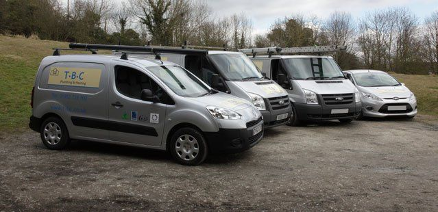 A selection of the four plumbing and heating vehicles