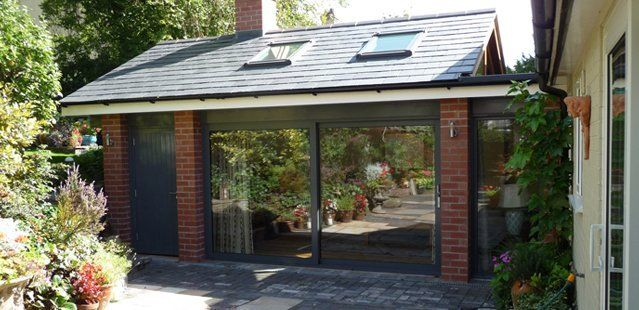 A new extension to a home with large sliding doors