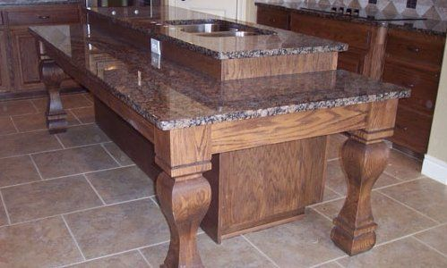 Two Level Kitchen Island With Storage Underneath By Jb Murphy Custom Cabinets Builder