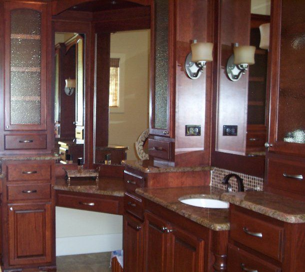 bathroom cabinets on every wall design and installed by JB Murphy Co