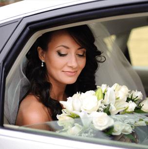 bride in vehicle