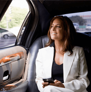 business executive in car