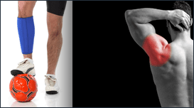 collage di due immagini, in una un ragazza con un pallone tra i piedi e una banda elastica sulla gamba destra e nell'altra un ragazzo visto di spalle con un'area rossa disegnata all'altezza della scapola