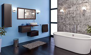 A stylish bathroom with a standalone bath
