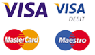 VISA, VISA Debit, Master Card and Maestro logos