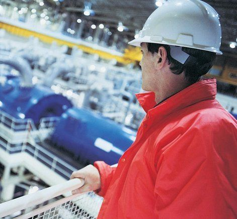 delta fire man overseeing factory