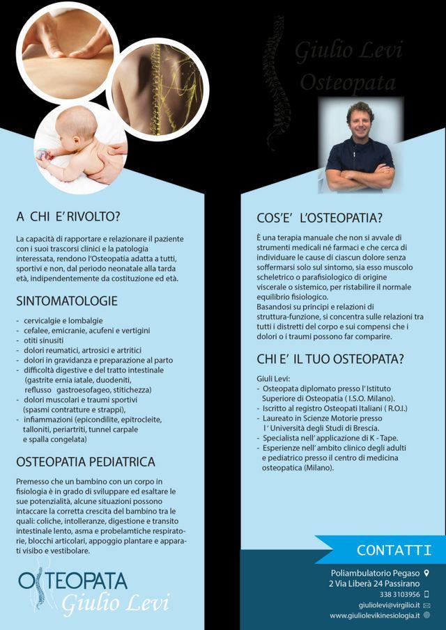 Brochure di presentazione dell'osteopata Giulio Levi