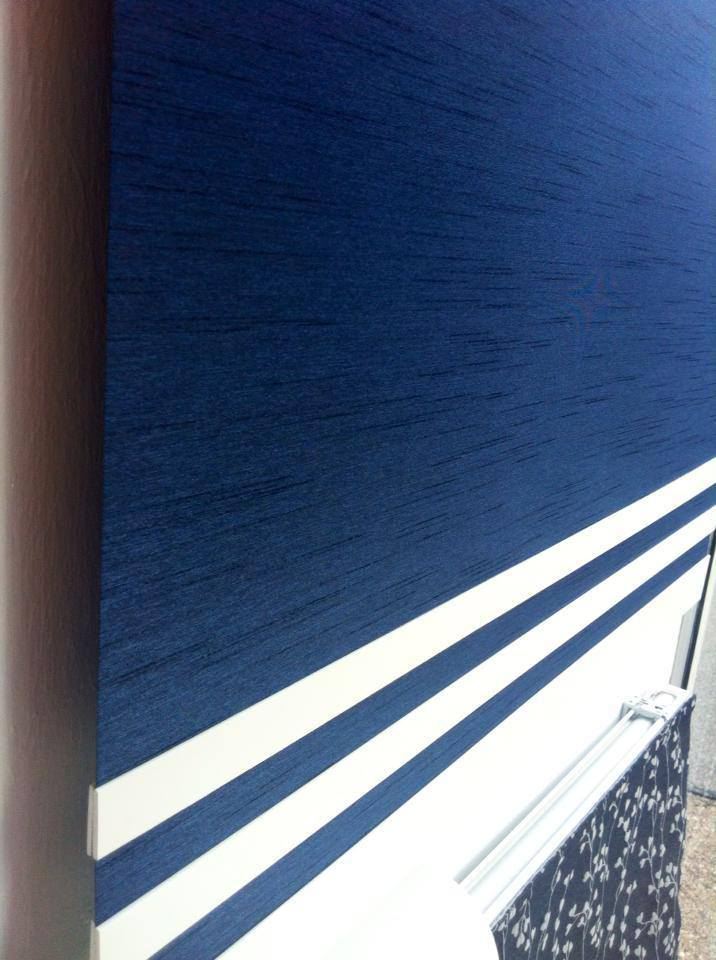 Blue and white blinds