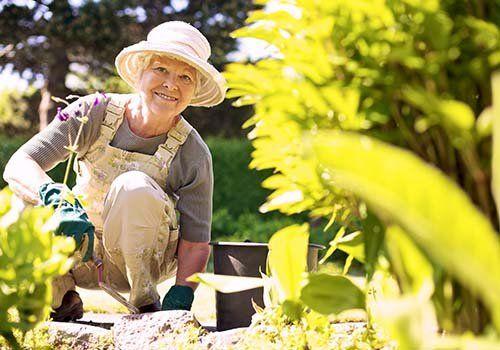 vecchia sorridente lavorando nel giardino