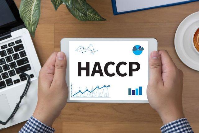 due mani con in mano un tablet con scritto HACCP