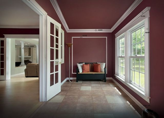 vista di un appartamento con pareti rosse
