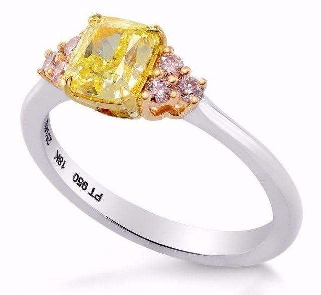 Fancy yellow and Pink diamonds Platinum ring