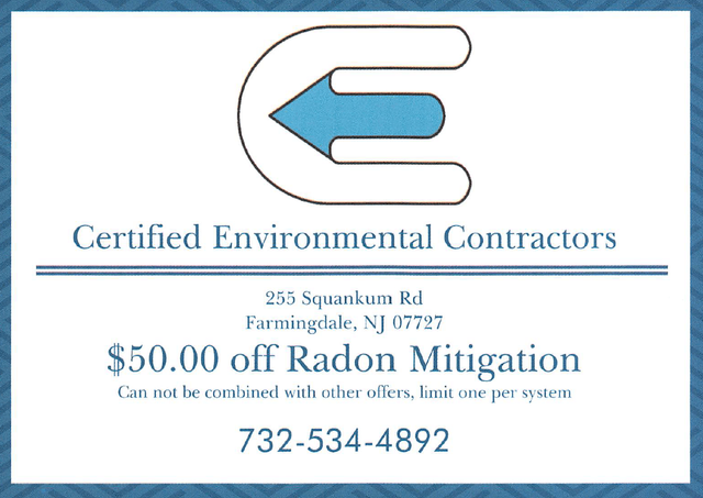 Radon Mitigation Certified Environmental Nj