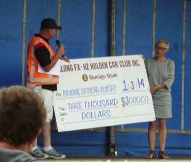 Donation of $3000 to charity at the Holden car club