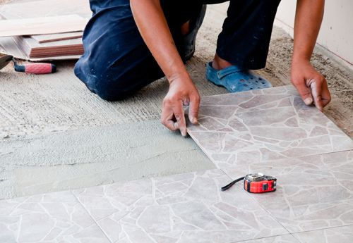 Ceramic tile installation as part of flooring services in Middletown, OH