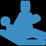 icona azzurra di un' infermiera con stetoscopio e un omino sdraiato su un letto