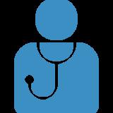 icona di un omino azzurro con stetoscopio al collo
