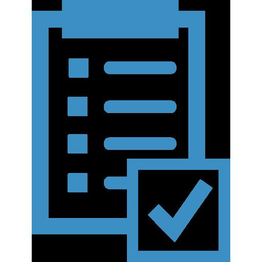 icona di azzurra di una cartella clinica e accanto un simbolo di conferma