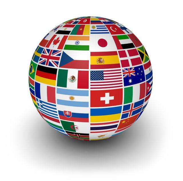 immagina di un mappamondo con bandiere internazionali