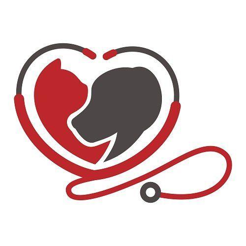 un logo di uno stetoscopio a forma di cuore e l'immagine di un gattino e un cane