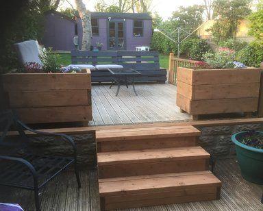 Garden decking with furniture